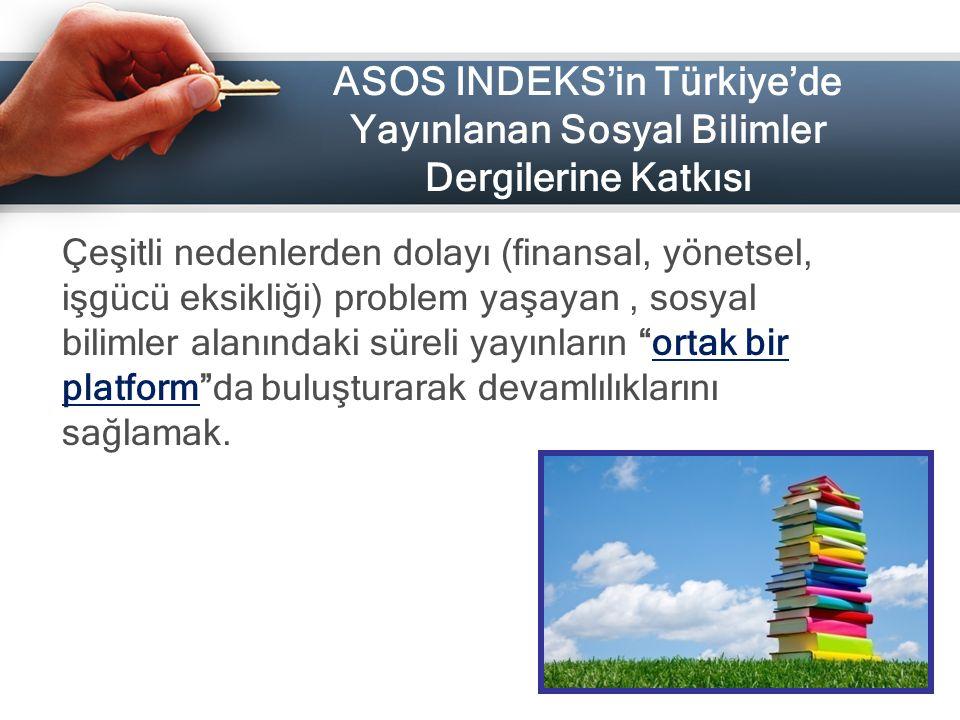 ASOS INDEKS'in Türkiye'de Yayınlanan Sosyal Bilimler Dergilerine Katkısı