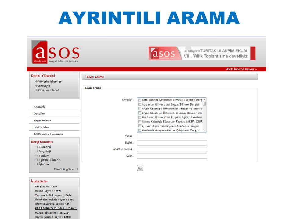 AYRINTILI ARAMA