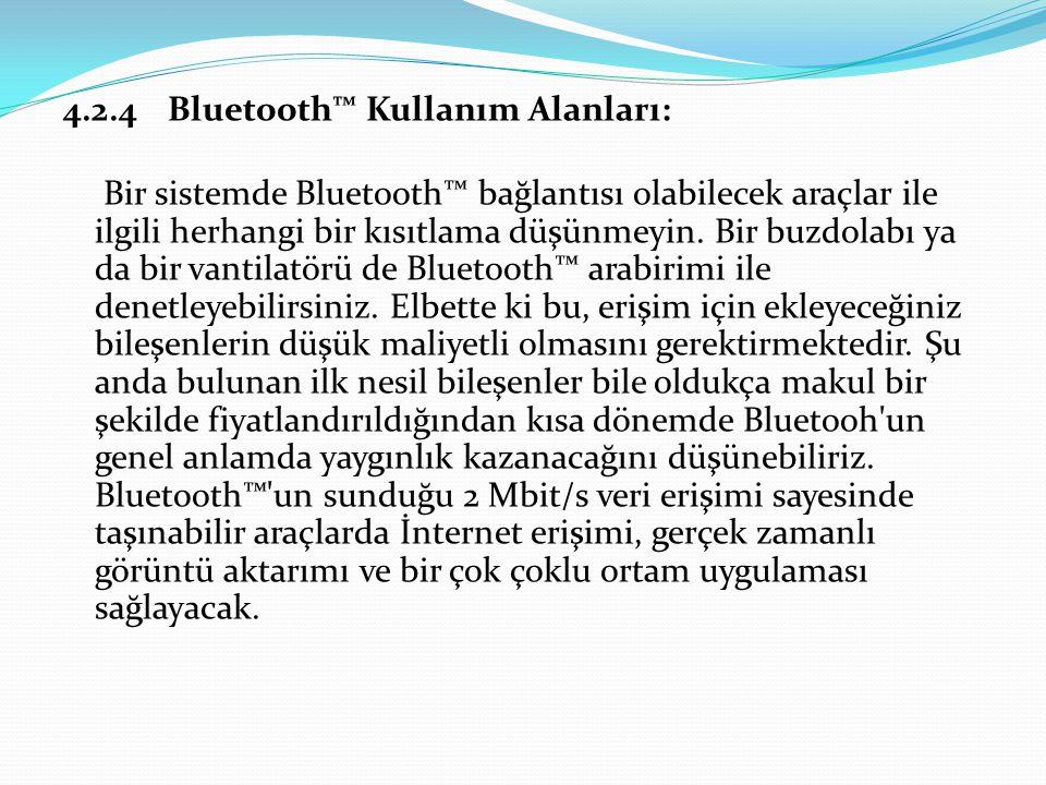 4.2.4 Bluetooth™ Kullanım Alanları: