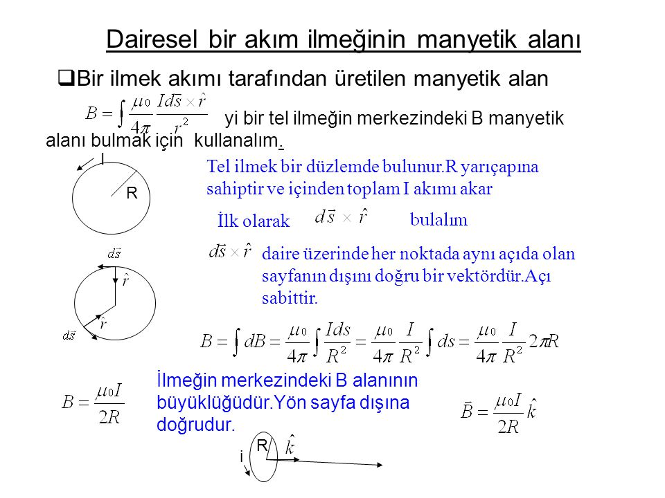 Dairesel bir akım ilmeğinin manyetik alanı