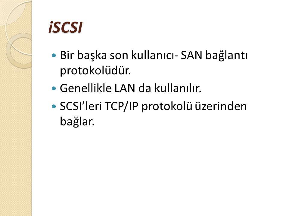 iSCSI Bir başka son kullanıcı- SAN bağlantı protokolüdür.