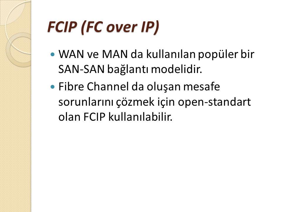 FCIP (FC over IP) WAN ve MAN da kullanılan popüler bir SAN-SAN bağlantı modelidir.