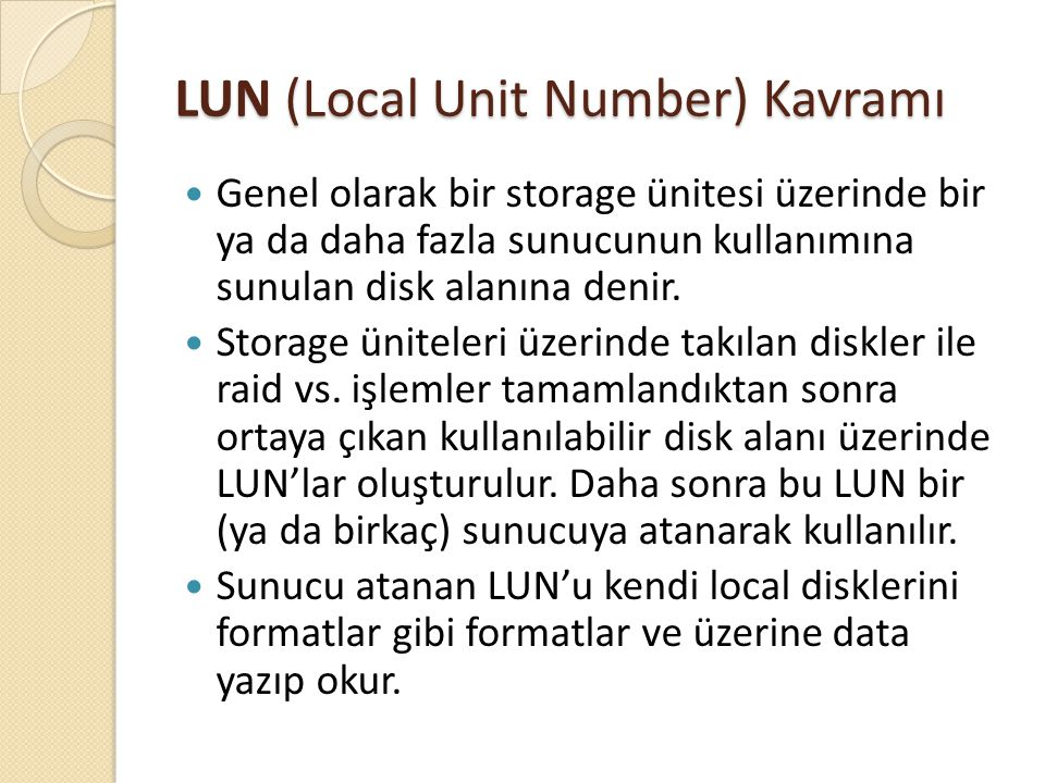 LUN (Local Unit Number) Kavramı