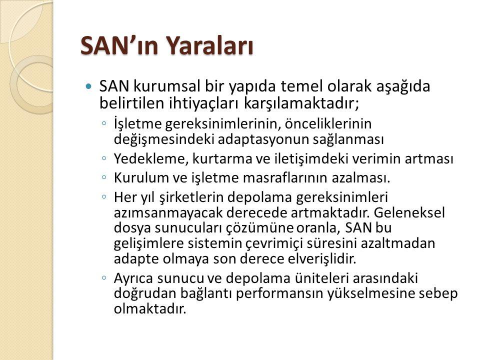 SAN'ın Yaraları SAN kurumsal bir yapıda temel olarak aşağıda belirtilen ihtiyaçları karşılamaktadır;