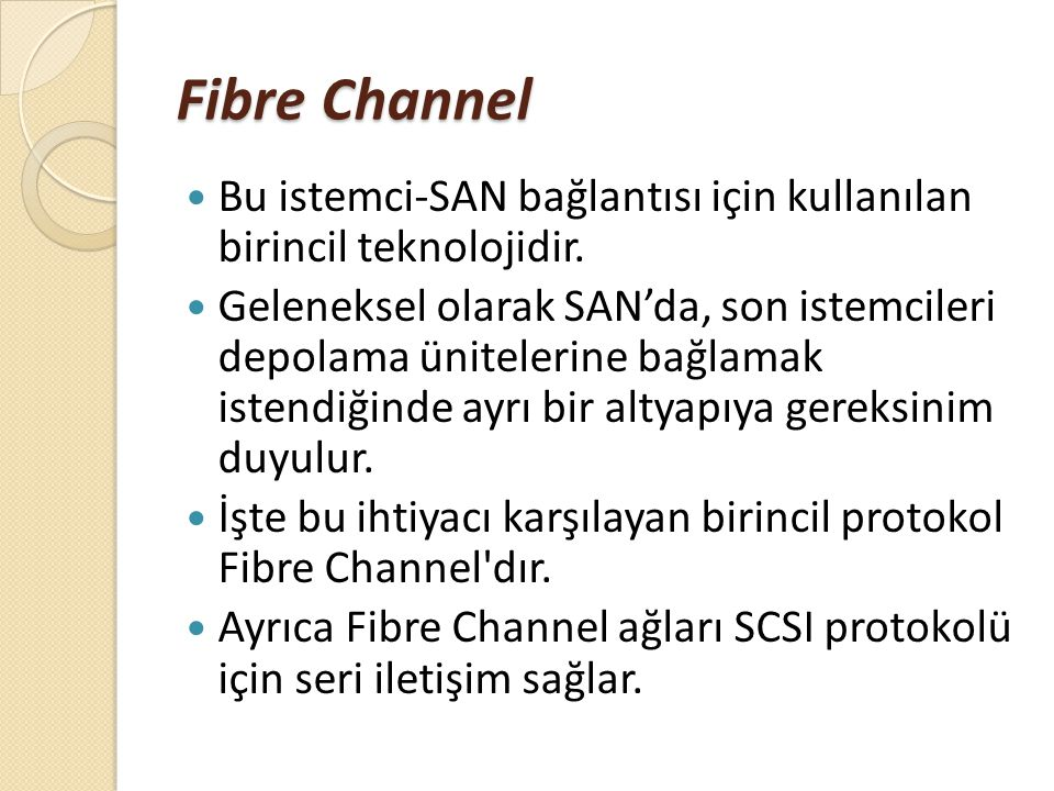 Fibre Channel Bu istemci-SAN bağlantısı için kullanılan birincil teknolojidir.
