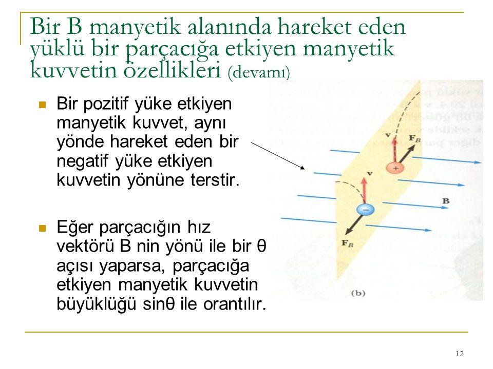 Bir B manyetik alanında hareket eden yüklü bir parçacığa etkiyen manyetik kuvvetin özellikleri (devamı)