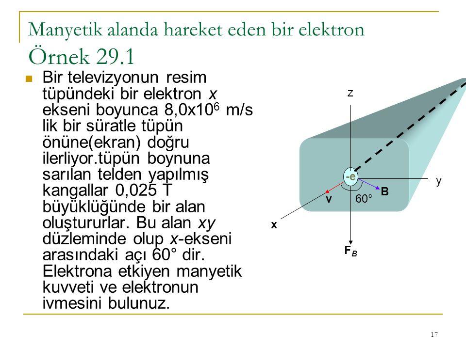 Manyetik alanda hareket eden bir elektron Örnek 29.1