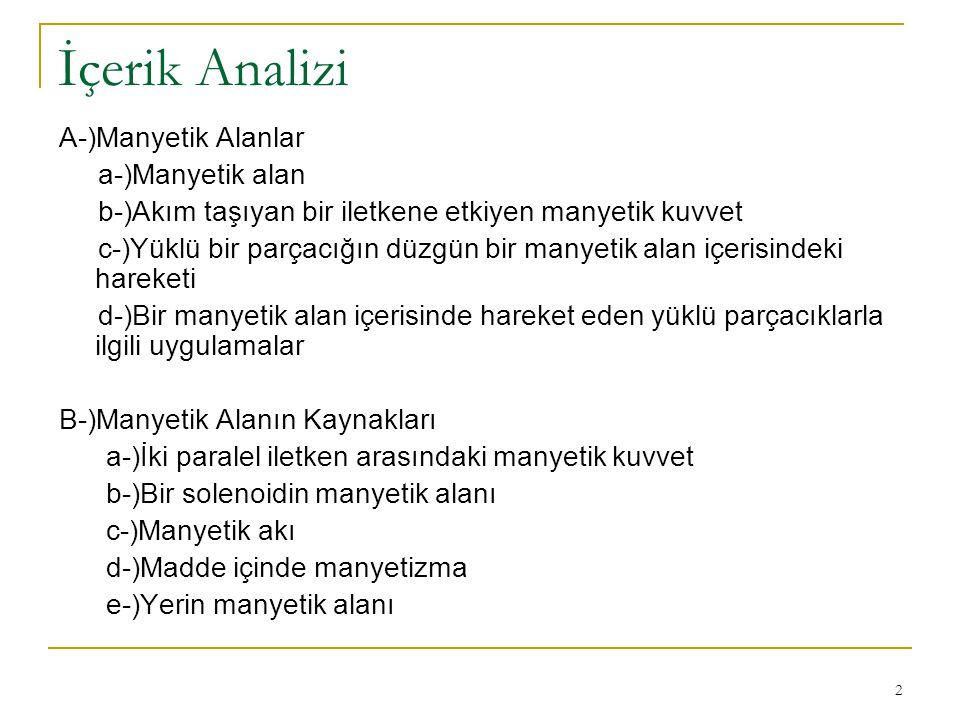 İçerik Analizi A-)Manyetik Alanlar a-)Manyetik alan