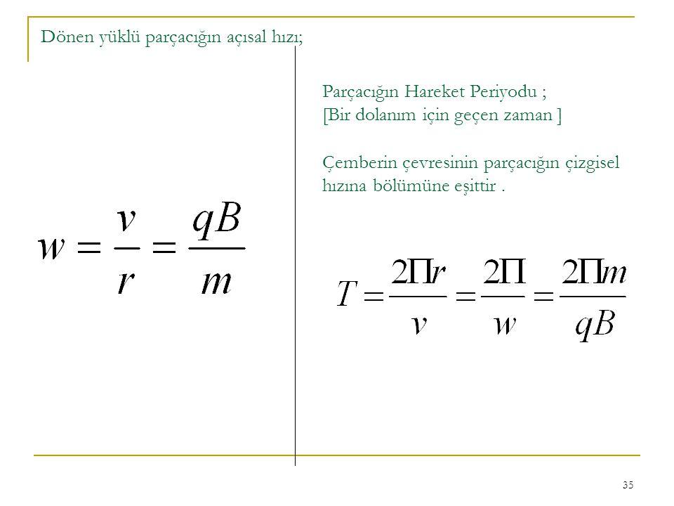 Dönen yüklü parçacığın açısal hızı;