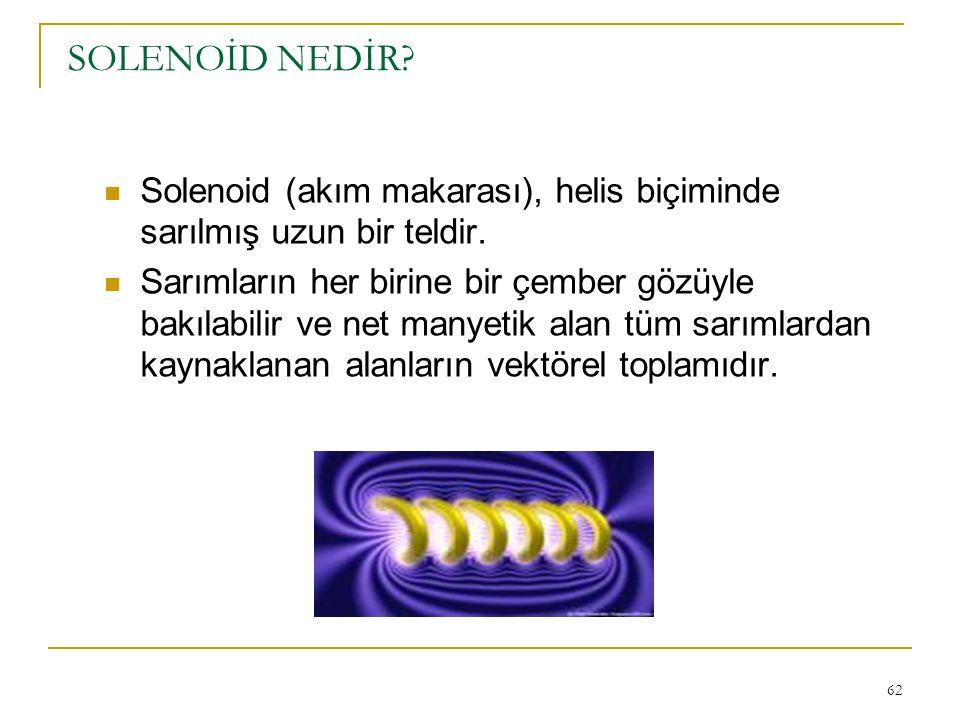 SOLENOİD NEDİR Solenoid (akım makarası), helis biçiminde sarılmış uzun bir teldir.