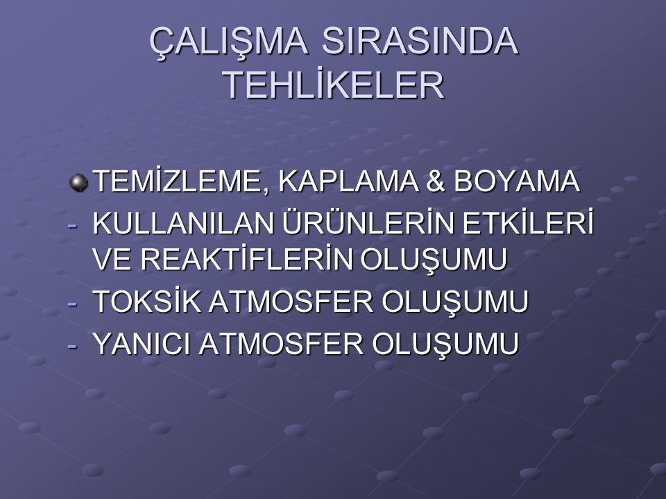 ÇALIŞMA SIRASINDA TEHLİKELER