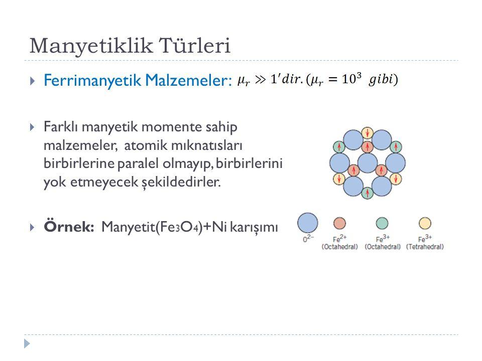 Manyetiklik Türleri Ferrimanyetik Malzemeler: