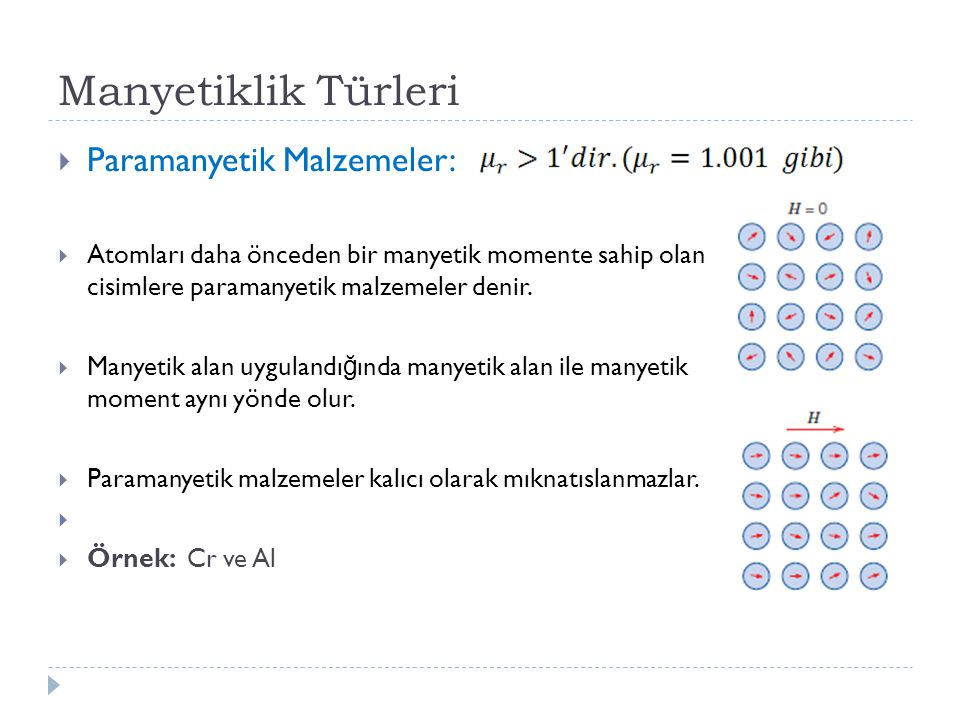 Manyetiklik Türleri Paramanyetik Malzemeler: