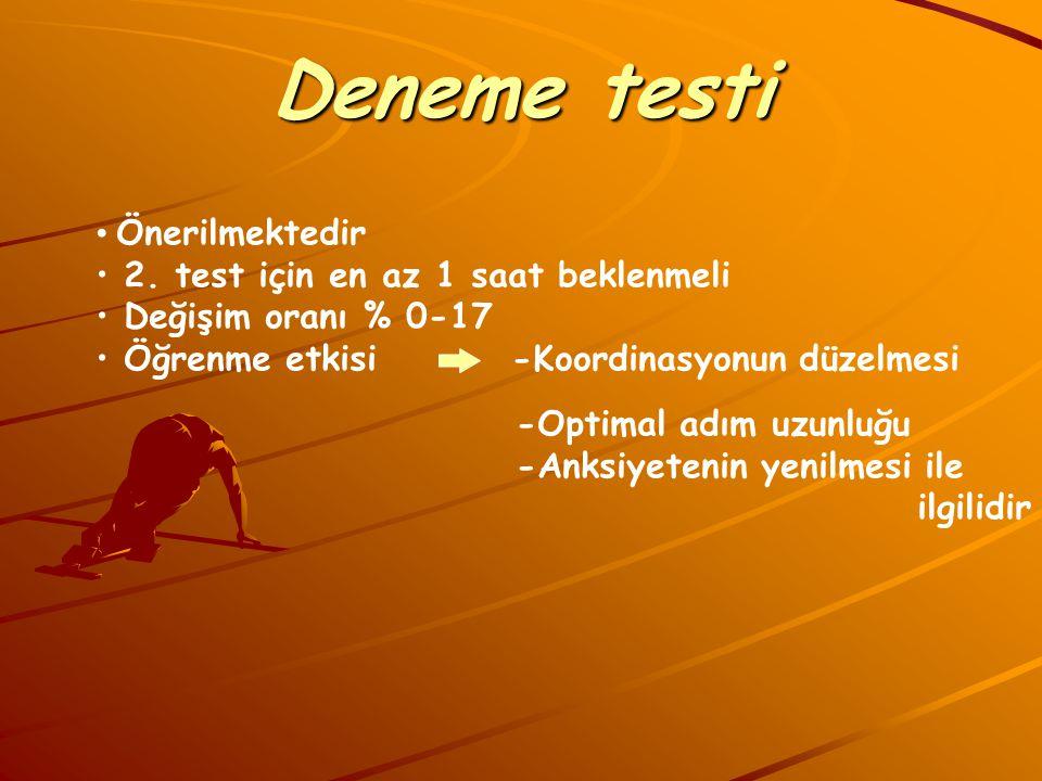 Deneme testi Önerilmektedir 2. test için en az 1 saat beklenmeli