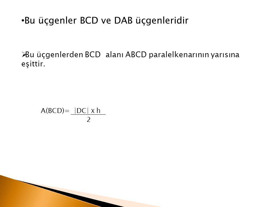 Bu üçgenler BCD ve DAB üçgenleridir