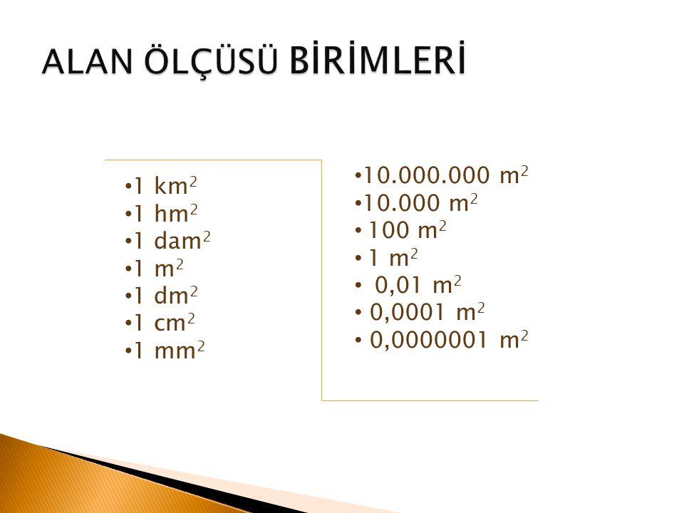 ALAN ÖLÇÜSÜ BİRİMLERİ 10.000.000 m2 1 km2 10.000 m2 1 hm2 100 m2