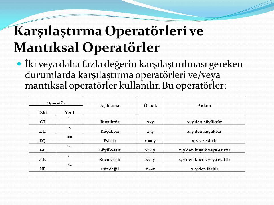 Karşılaştırma Operatörleri ve Mantıksal Operatörler