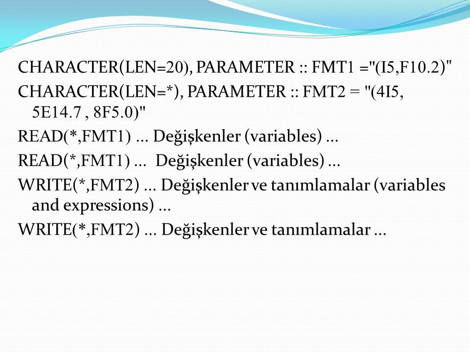 CHARACTER(LEN=20), PARAMETER :: FMT1 = (I5,F10. 2) CHARACTER(LEN=