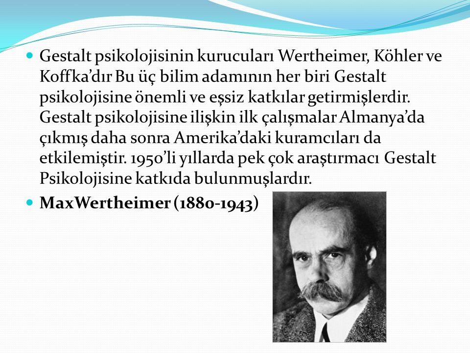 Gestalt psikolojisinin kurucuları Wertheimer, Köhler ve Koffka'dır Bu üç bilim adamının her biri Gestalt psikolojisine önemli ve eşsiz katkılar getirmişlerdir. Gestalt psikolojisine ilişkin ilk çalışmalar Almanya'da çıkmış daha sonra Amerika'daki kuramcıları da etkilemiştir. 1950'li yıllarda pek çok araştırmacı Gestalt Psikolojisine katkıda bulunmuşlardır.