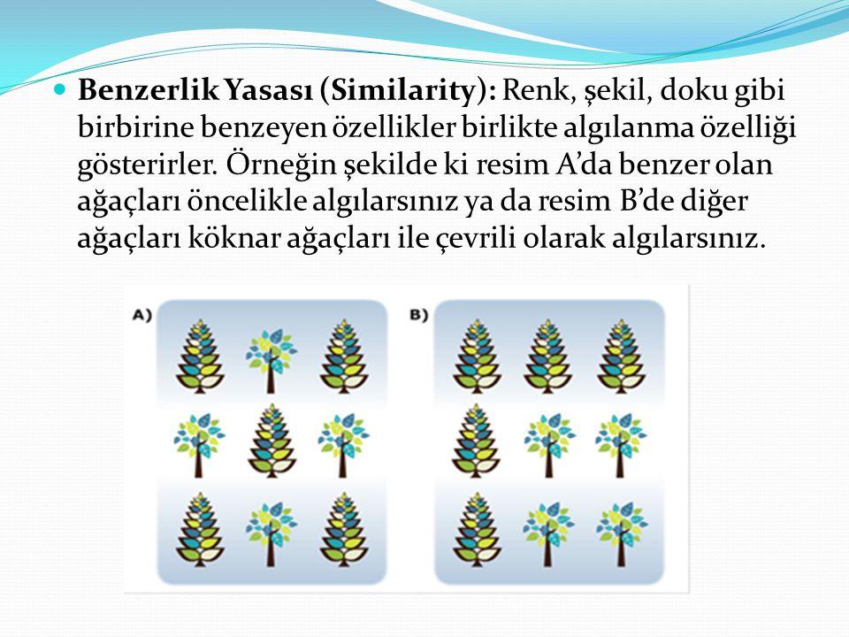 Benzerlik Yasası (Similarity): Renk, şekil, doku gibi birbirine benzeyen özellikler birlikte algılanma özelliği gösterirler.