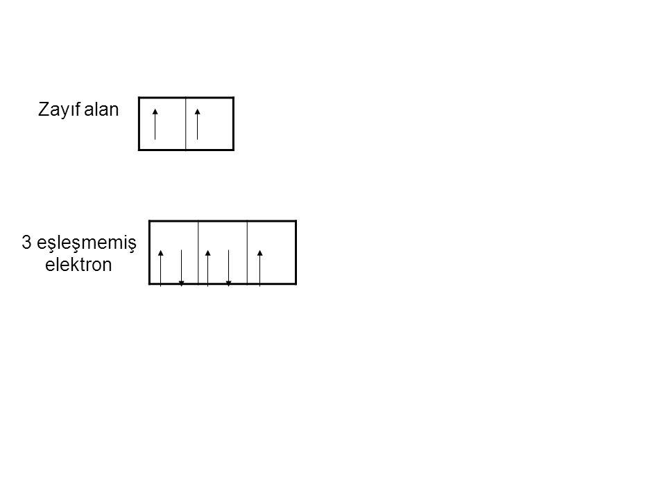 Zayıf alan 3 eşleşmemiş elektron