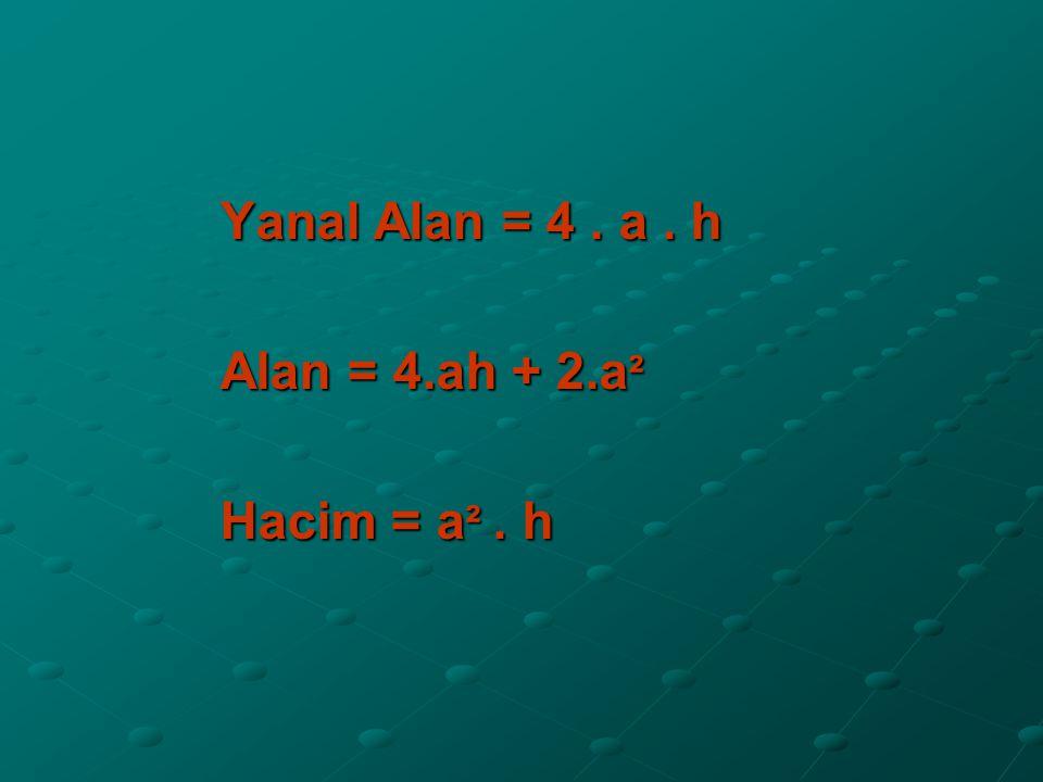 Yanal Alan = 4 . a . h Alan = 4.ah + 2.a² Hacim = a² . h