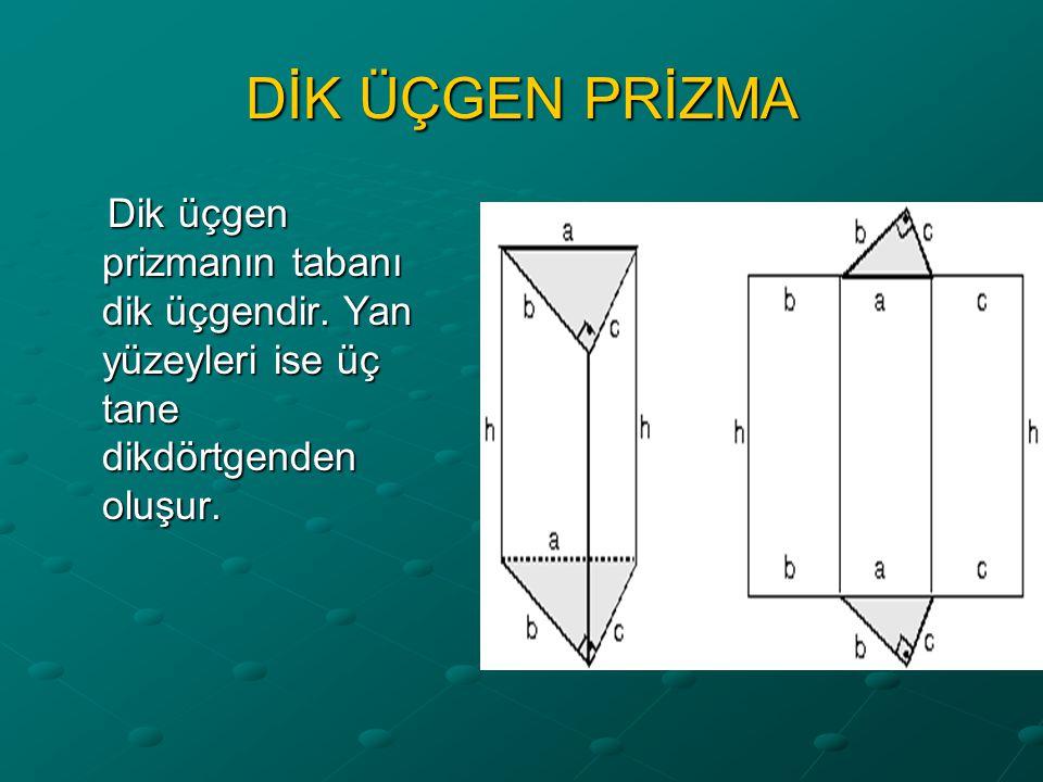 DİK ÜÇGEN PRİZMA Dik üçgen prizmanın tabanı dik üçgendir.