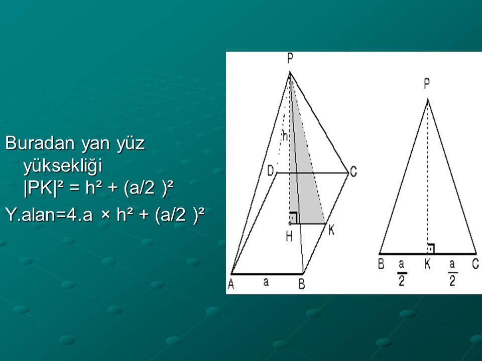 Buradan yan yüz yüksekliği |PK|² = h² + (a/2 )²