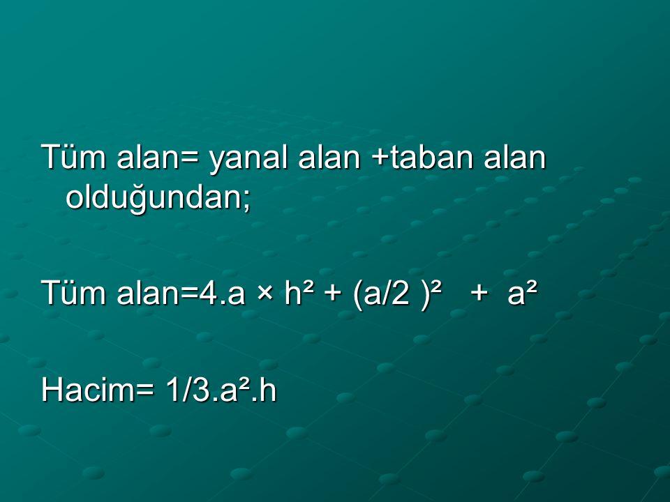 Tüm alan= yanal alan +taban alan olduğundan;