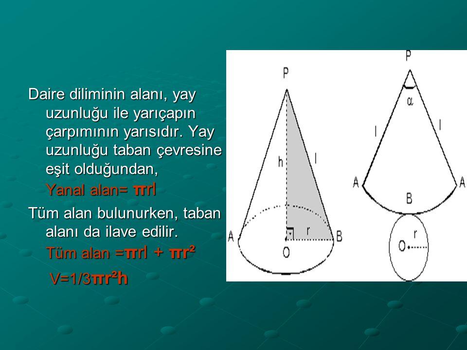 Daire diliminin alanı, yay uzunluğu ile yarıçapın çarpımının yarısıdır