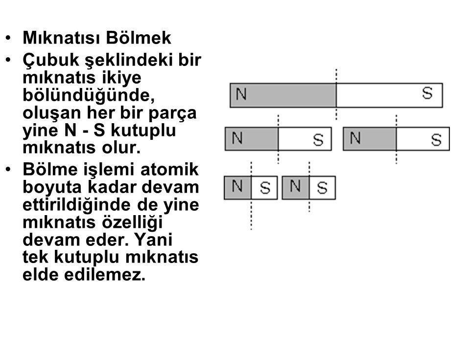 Mıknatısı Bölmek Çubuk şeklindeki bir mıknatıs ikiye bölündüğünde, oluşan her bir parça yine N - S kutuplu mıknatıs olur.