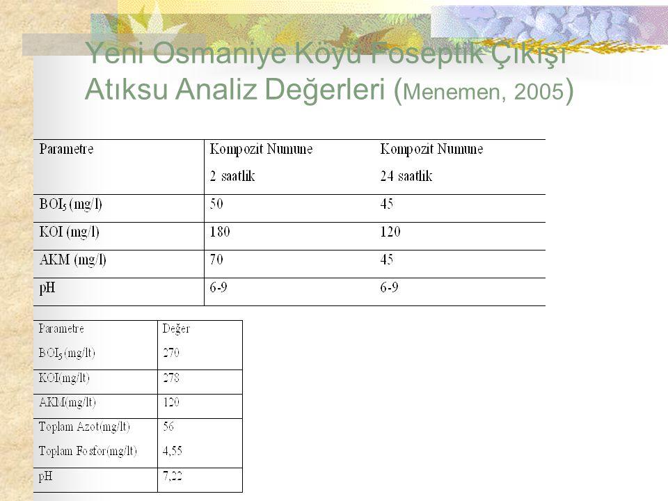 Yeni Osmaniye Köyü Foseptik Çıkışı Atıksu Analiz Değerleri (Menemen, 2005)