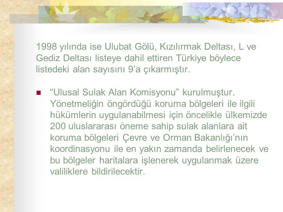1998 yılında ise Ulubat Gölü, Kızılırmak Deltası, L ve Gediz Deltası listeye dahil ettiren Türkiye böylece listedeki alan sayısını 9'a çıkarmıştır.