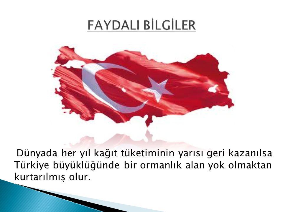 FAYDALI BİLGİLER Dünyada her yıl kağıt tüketiminin yarısı geri kazanılsa Türkiye büyüklüğünde bir ormanlık alan yok olmaktan kurtarılmış olur.