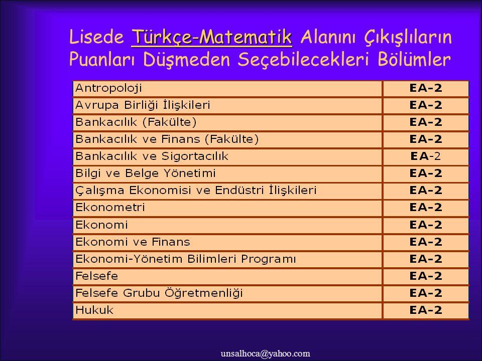 Lisede Türkçe-Matematik Alanını Çıkışlıların Puanları Düşmeden Seçebilecekleri Bölümler