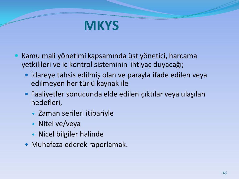 MKYS Kamu mali yönetimi kapsamında üst yönetici, harcama yetkilileri ve iç kontrol sisteminin ihtiyaç duyacağı;