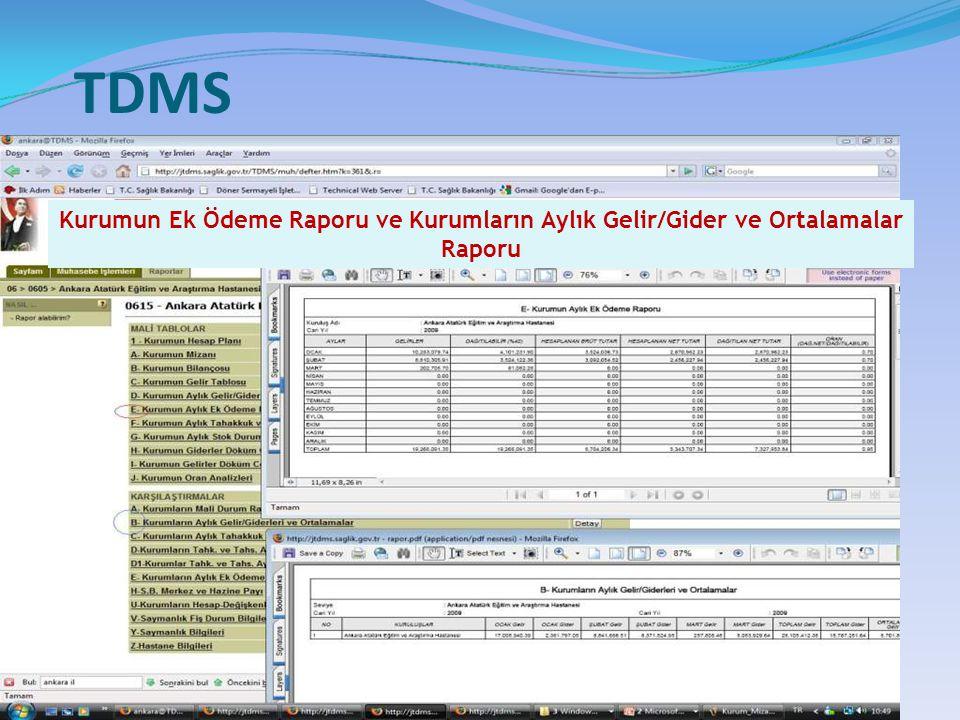 TDMS Kurumun Ek Ödeme Raporu ve Kurumların Aylık Gelir/Gider ve Ortalamalar Raporu