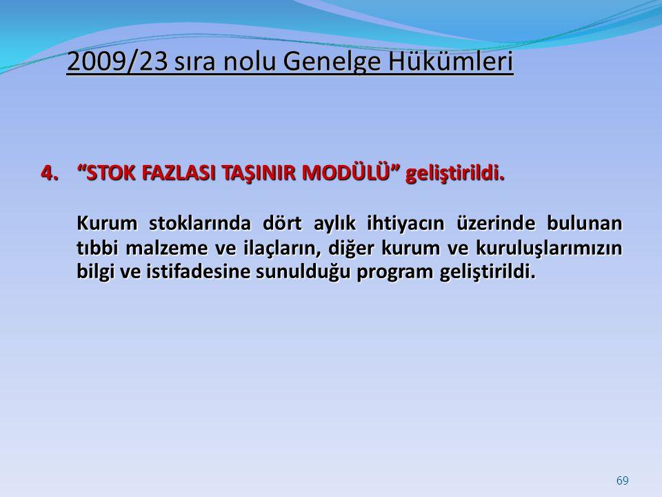 2009/23 sıra nolu Genelge Hükümleri