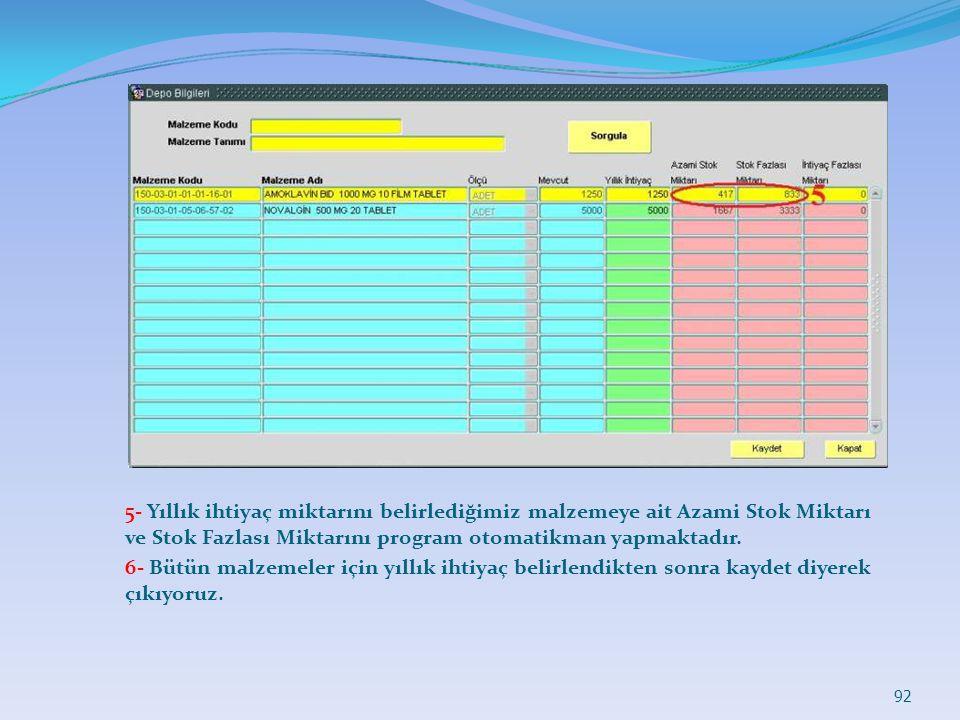 5- Yıllık ihtiyaç miktarını belirlediğimiz malzemeye ait Azami Stok Miktarı ve Stok Fazlası Miktarını program otomatikman yapmaktadır.