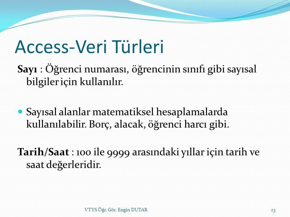 Access-Veri Türleri Sayı : Öğrenci numarası, öğrencinin sınıfı gibi sayısal bilgiler için kullanılır.