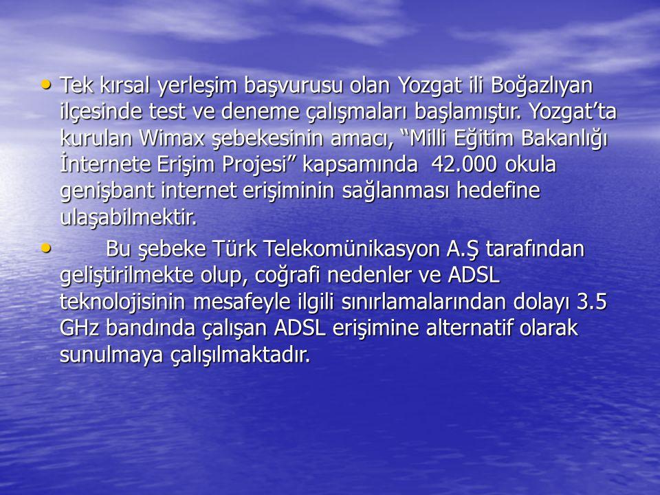Tek kırsal yerleşim başvurusu olan Yozgat ili Boğazlıyan ilçesinde test ve deneme çalışmaları başlamıştır. Yozgat'ta kurulan Wimax şebekesinin amacı, Milli Eğitim Bakanlığı İnternete Erişim Projesi kapsamında 42.000 okula genişbant internet erişiminin sağlanması hedefine ulaşabilmektir.