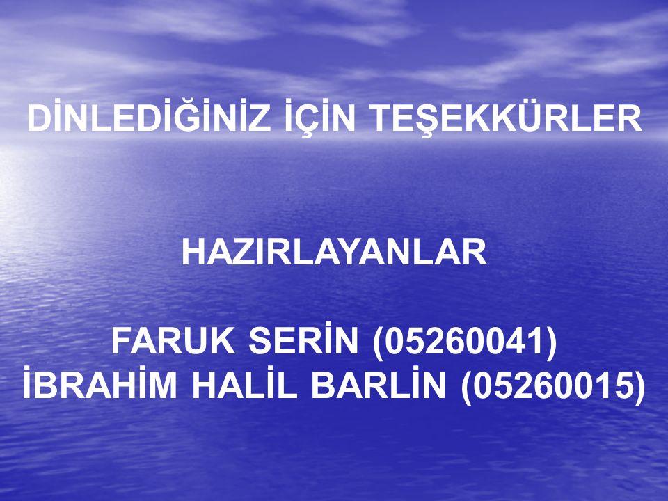 DİNLEDİĞİNİZ İÇİN TEŞEKKÜRLER İBRAHİM HALİL BARLİN (05260015)