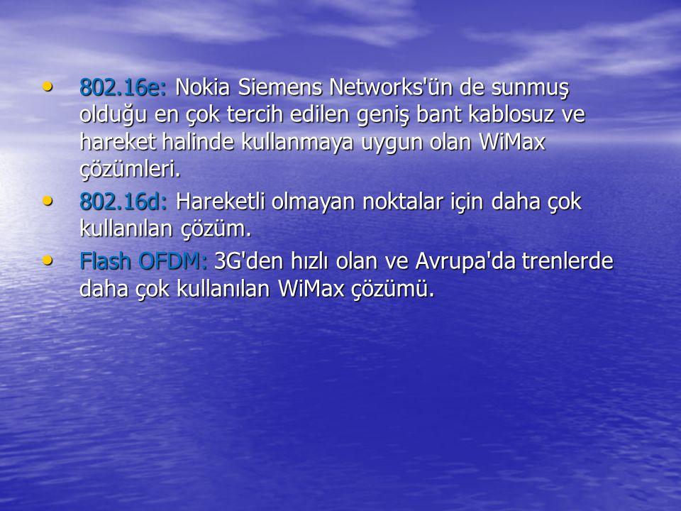 802.16e: Nokia Siemens Networks ün de sunmuş olduğu en çok tercih edilen geniş bant kablosuz ve hareket halinde kullanmaya uygun olan WiMax çözümleri.
