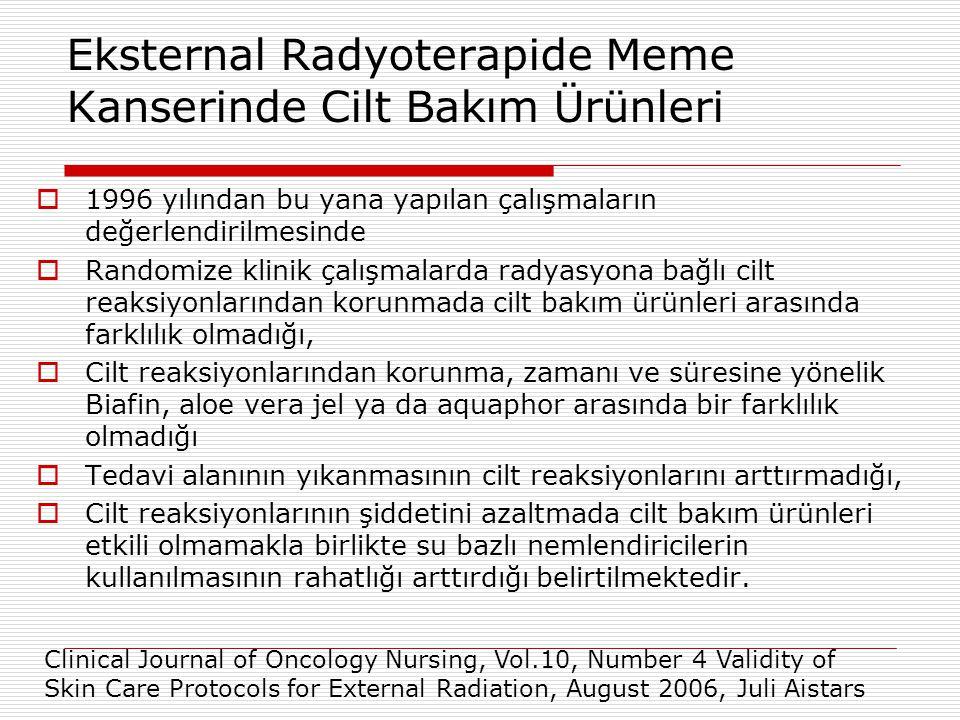 Eksternal Radyoterapide Meme Kanserinde Cilt Bakım Ürünleri