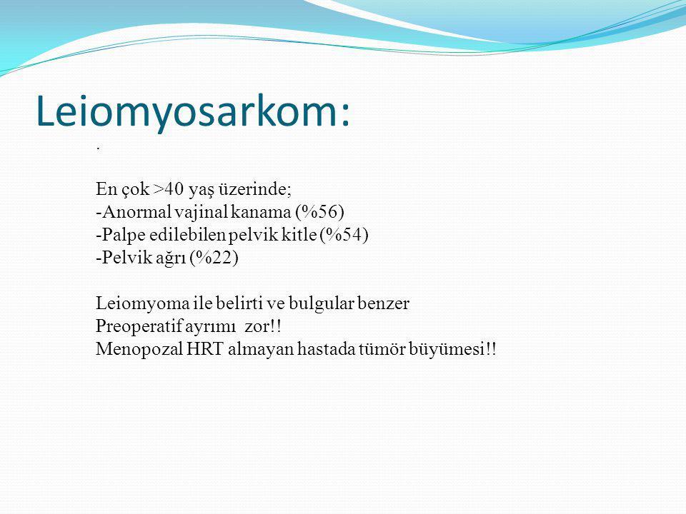 Leiomyosarkom: . En çok >40 yaş üzerinde;