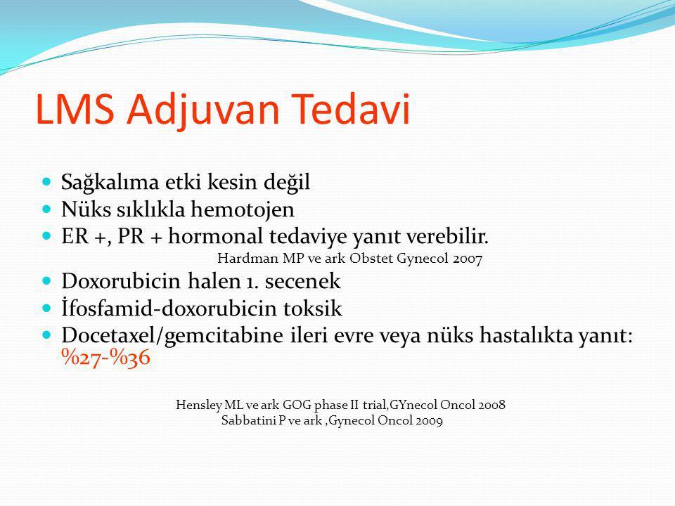 LMS Adjuvan Tedavi Sağkalıma etki kesin değil Nüks sıklıkla hemotojen