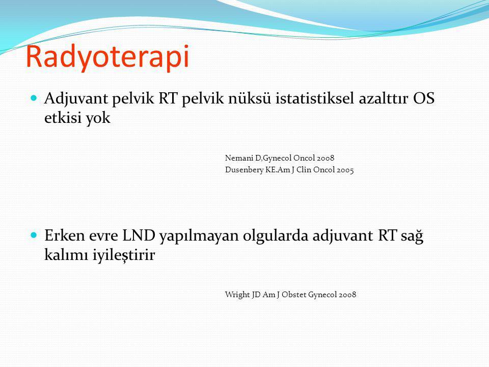 Radyoterapi Adjuvant pelvik RT pelvik nüksü istatistiksel azalttır OS etkisi yok. Nemani D,Gynecol Oncol 2008.