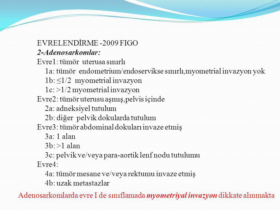 EVRELENDİRME -2009 FIGO 2-Adenosarkomlar: Evre1: tümör uterusa sınırlı. 1a: tümör endometrium/endoservikse sınırlı,myometrial invazyon yok.