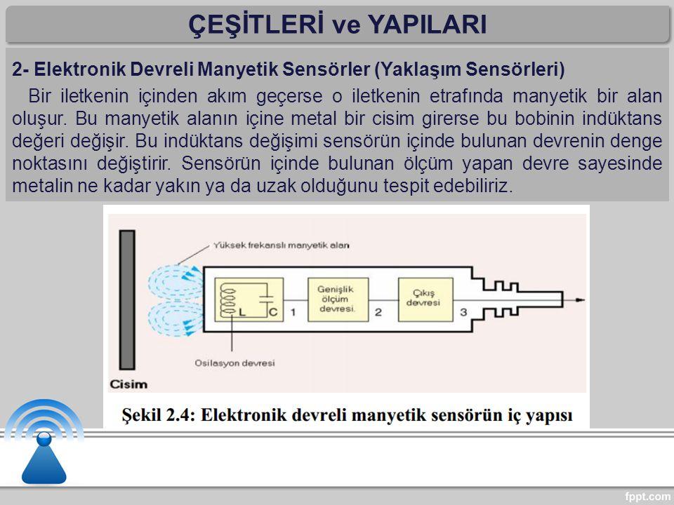 ÇEŞİTLERİ ve YAPILARI 2- Elektronik Devreli Manyetik Sensörler (Yaklaşım Sensörleri)