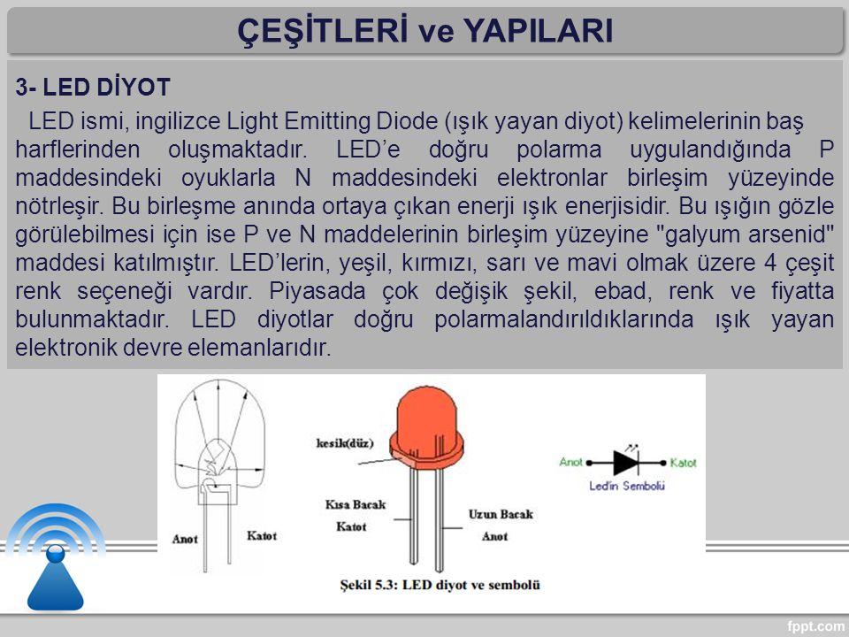 ÇEŞİTLERİ ve YAPILARI 3- LED DİYOT